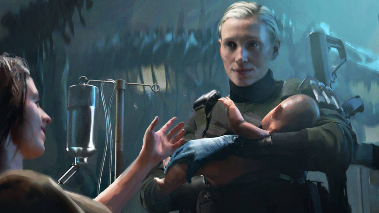 Battlefield 2042 - concept art Maria Fleck trzyma dziecko świeżo upieczonej mamy na rękach