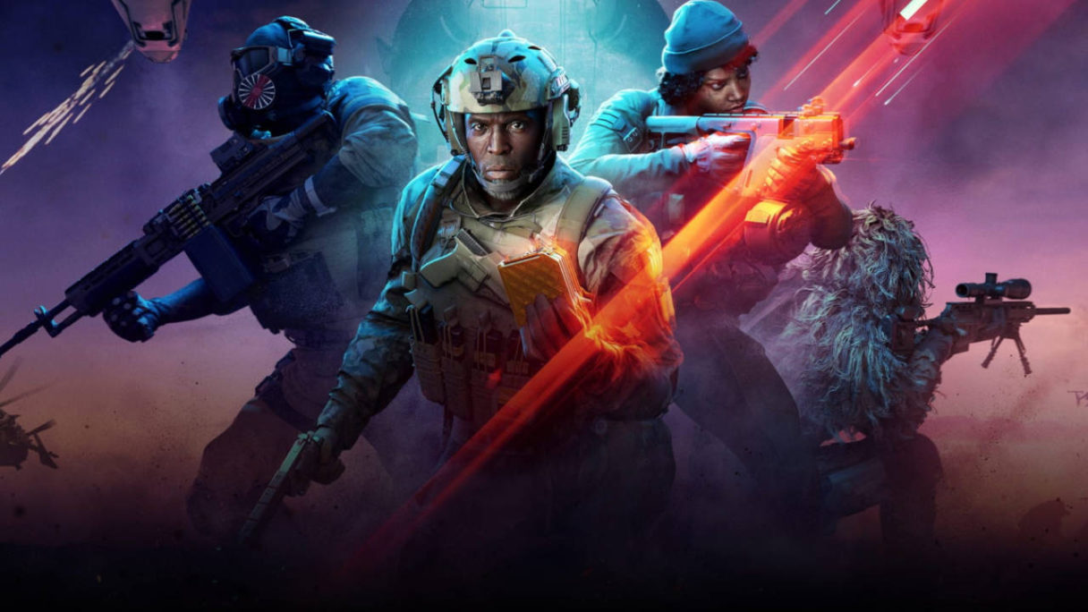 Battlefield 2042 Hazard Zone - grafika promocyjna trzeci z trybów. Czwórka żołnierzy poszukuje dokumentów z satelitów