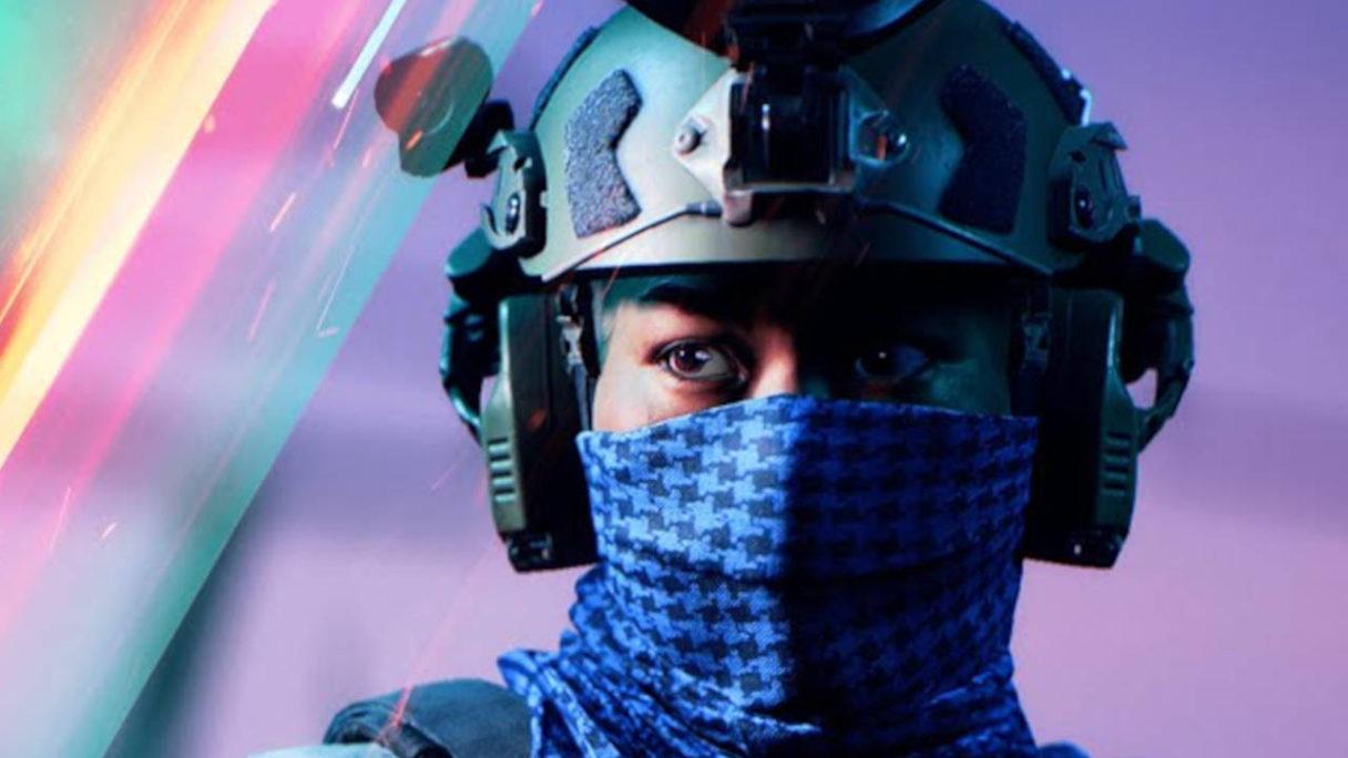Battlefield 2042 - Hazard Zone - żołnierz w niebieskiej chustce (zbliżenie na głowę)