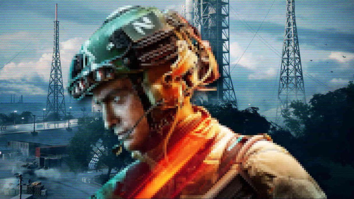 Battlefield 2042 - rozpikselowany żołnierz na tle mapy Kosmodron - PG
