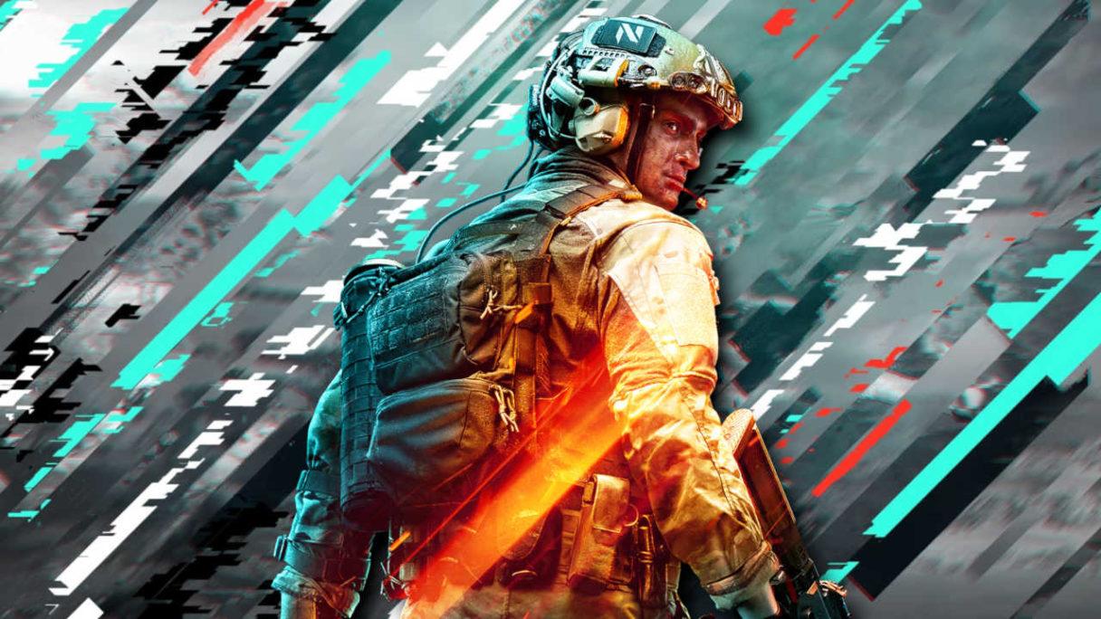 Battlefield 2042 - żołnierz na tle zglitchowanej grafiki - PG