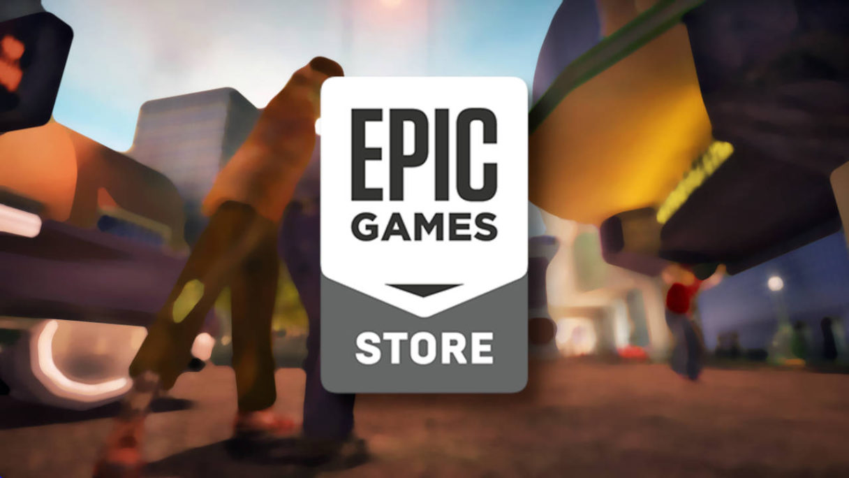 Darmowe gry Epic Games Store - logo na tle rozmazanej grafiki z zombie atakującym człowieka
