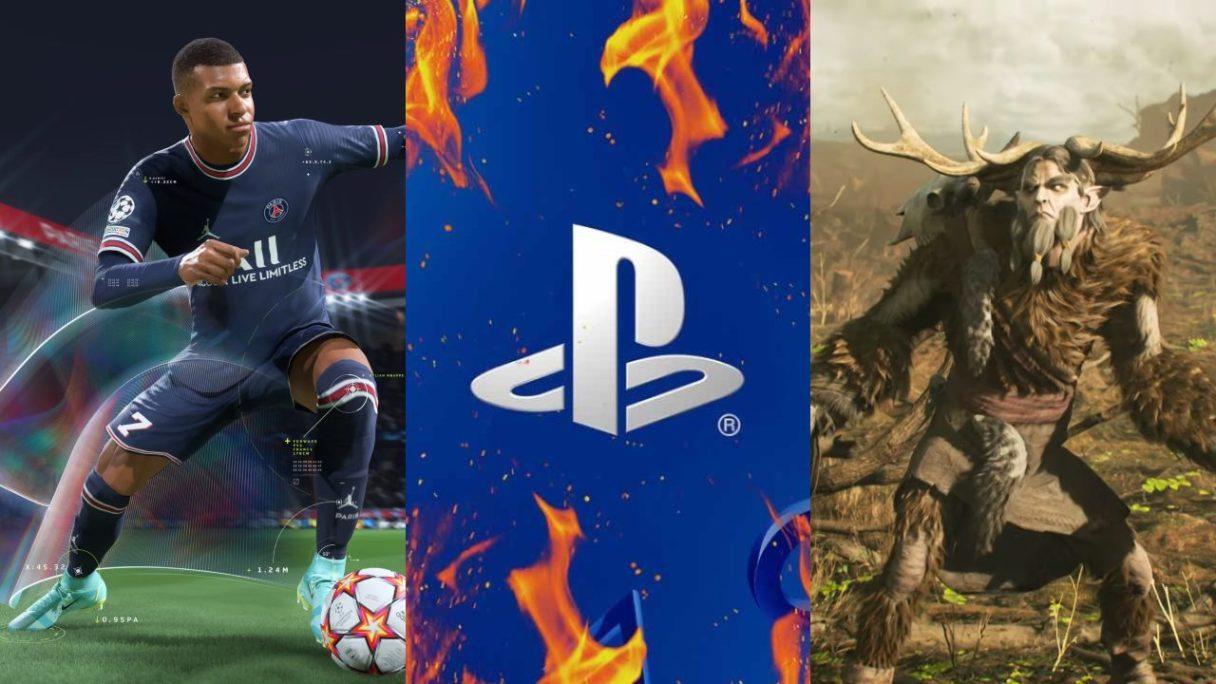 Piłkarz z FIFA 22 biegnie za piłką, logo PlayStation w płomieniach, wkurzony Leszy
