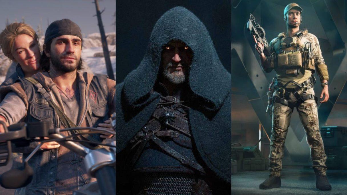 Bohaterowie Days Gone jadą szczęśliwi na motocyklu, Geralt z Wiedźmin 3 Dziki Gon w kapturze, żołnierz z Battlefield 2042