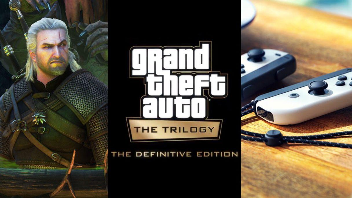 Geralt z Wiedźmin 3: Dziki Gon w kotle ze zgryzioną miną, logo GTA: The Trilogy - The Definitive Edition, białe Joy Cony z Nintendo Switch OLED