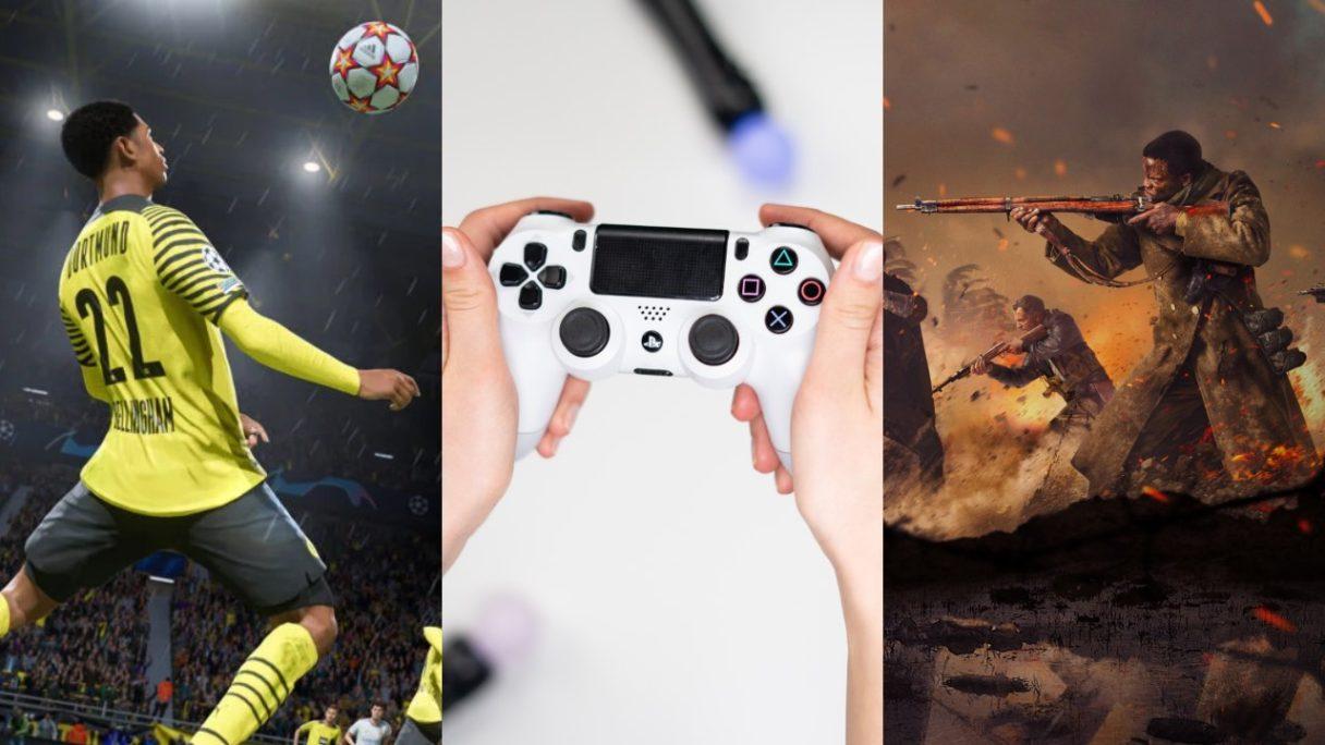 Piłkarz z seri FIFA, kontroler z PS5, żołnierze z Call of Duty