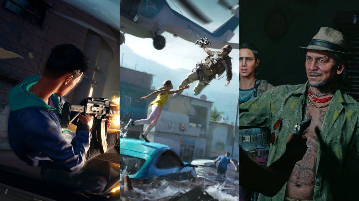 Strzelanina z Saints Row, uratowanie kobiety przez żołnierza w Battlefield 2042 oraz bohater z Far Cry 6 z pistoletem przystawionym do klatki piersiowej