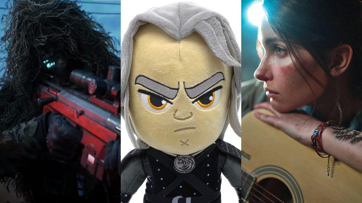 Żołnierz z Battlefield 2042 celuje przez lunetę karabinu snajperskiego, pluszowy Geralt z serialu Wiedźmin (Netflix) i cospplay Ellie z The Last of Us 2