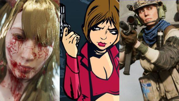 Twarz bohaterki z gry Succubus (cała we krwi), postać z pistoletem z GTA The Trilogy - The Definitive Edition, żołnierz celuje z karabinu z Battlefield 2042