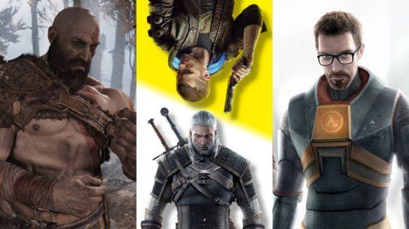 Kratos z God of War w lesie, Geralt i Vi z Wiedźmin 3: Dziki Gon i Cyberpunk 2077 oraz Gordon Freeman z Half-Life 2