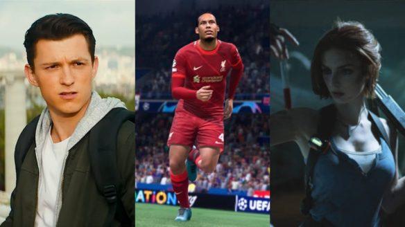 Tom Holland jako Nathan Drake z Uncharted, piłkarz z FIFA 22 w czerwonym stroju na boisku, cosplay Jull Valentine z Resident Evil