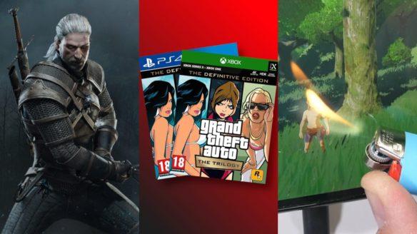 DoGRYwka - Geralt z gry Wiedźmin 3 Dziki Gon, okładki pudełkowego wydania na Xbox i PS4 gry GTA The Trilogy - The Definitive Edition, podpalanie zapalniczką konsoli Nintendo Switch OLED