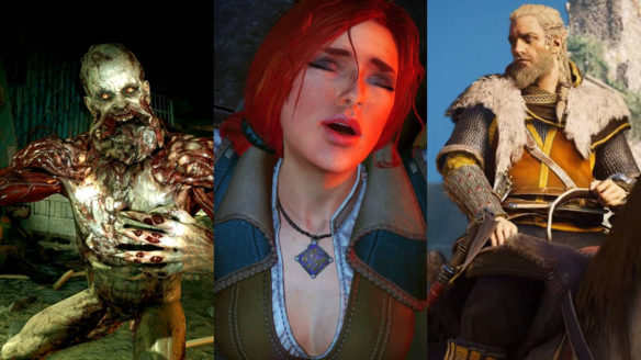 Stwór z Dying Light, wzdychająca Triss z Wiedźmin 3: Dziki Gon i Eivor na koniu w nowych, złotych przedmiotach z gry Assassin's Creed Valhalla
