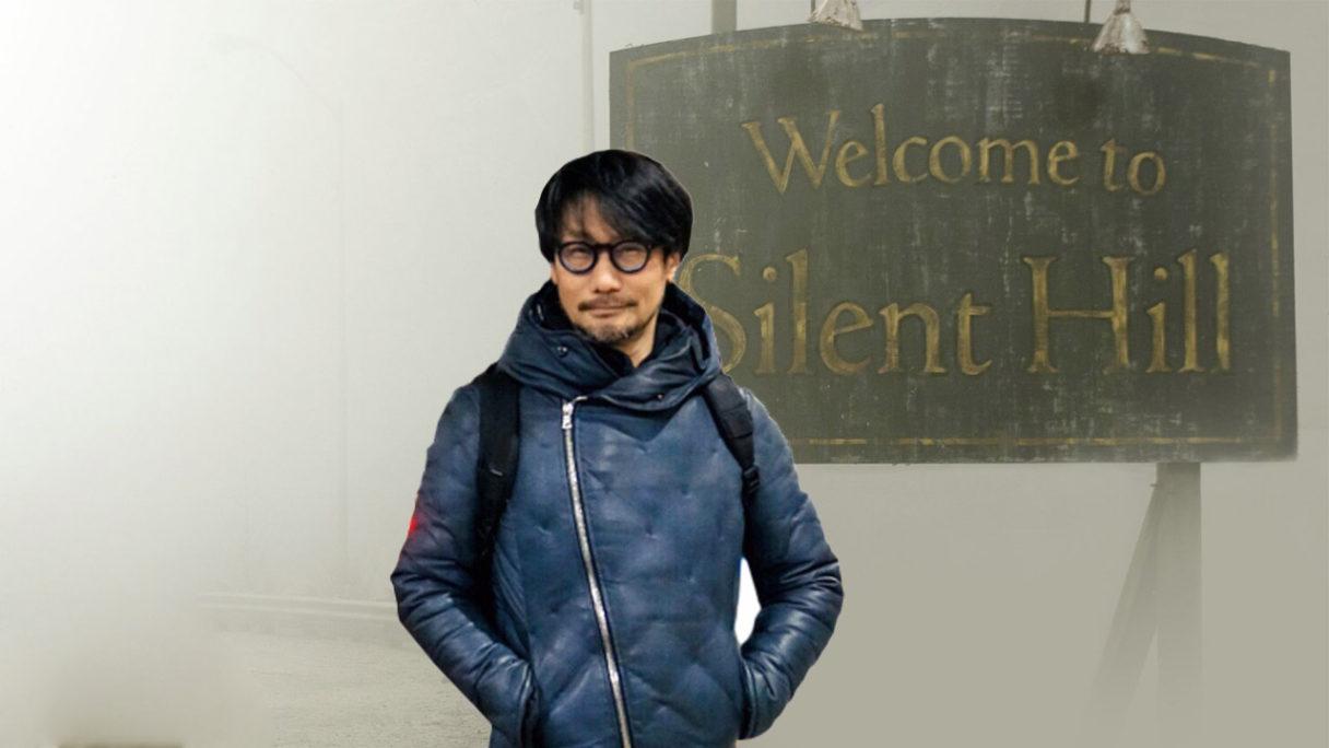 Hideo Kojima przy znaku Silent Hill