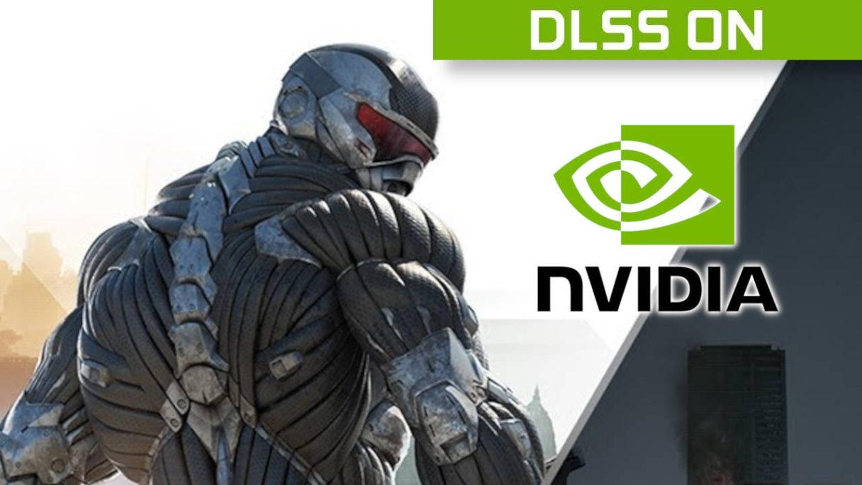 "Nvidia DLSS - Crysis Remastered Trilogy - główny bohater i logo Nvidia oraz napis ""DLSS ON"""