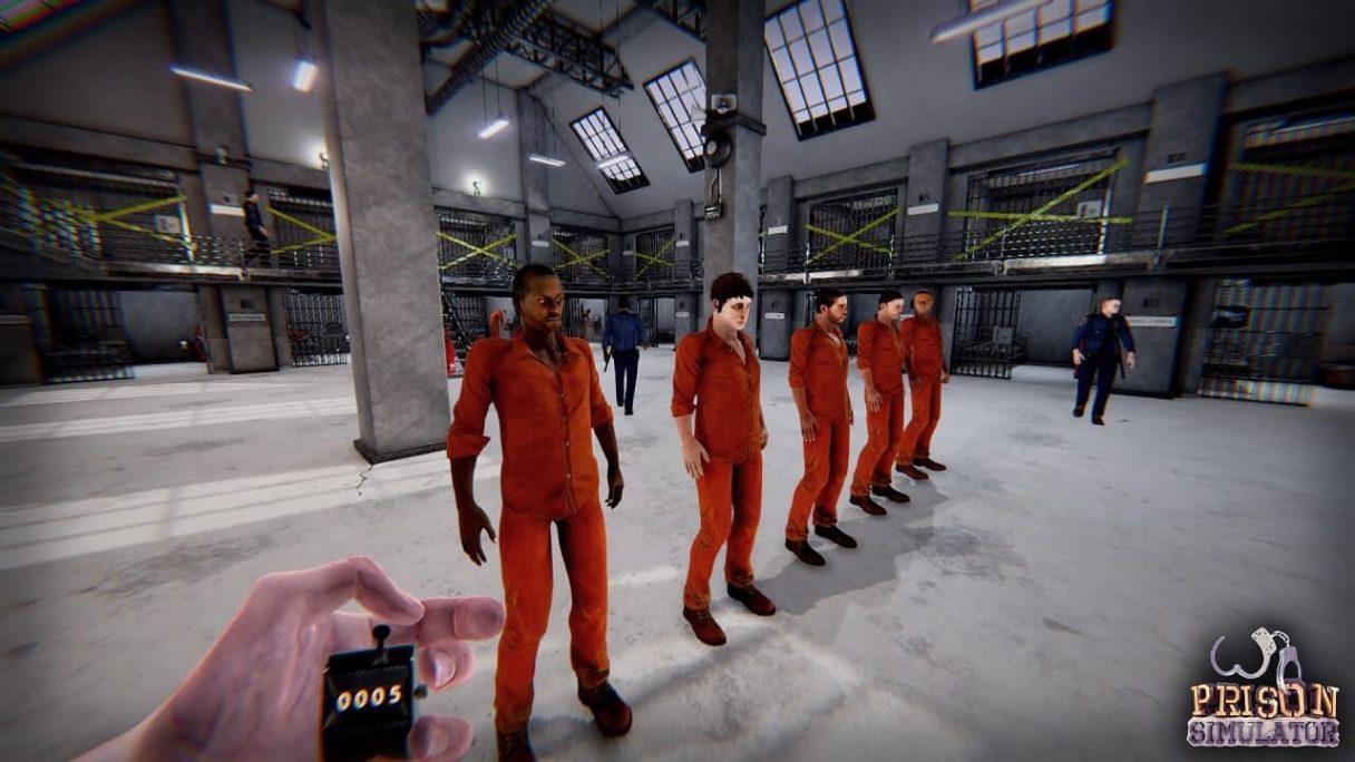 Prison Simulator screen z więżniami w szeregu