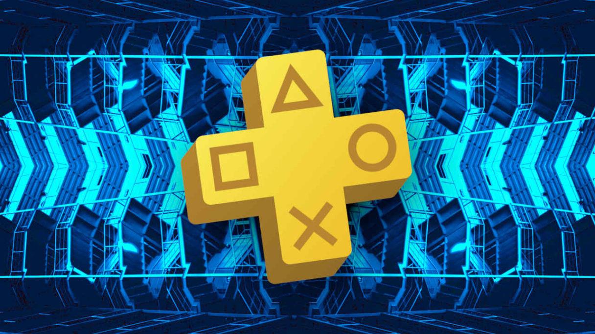 Logo PS Plus na tle niebieskiego fraktalu