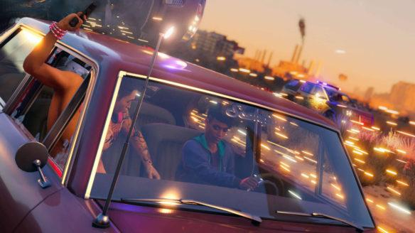 Saints Row (reboot) - dwójka postaci ucieka przed policją w pościgu, w tle iskry i wywracający się samochód