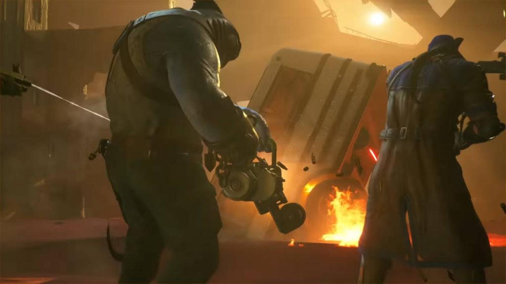 Drużyna strzela z broni palnej, stoją tyłem do kamery The Suicide Squad: Kill the Justice League