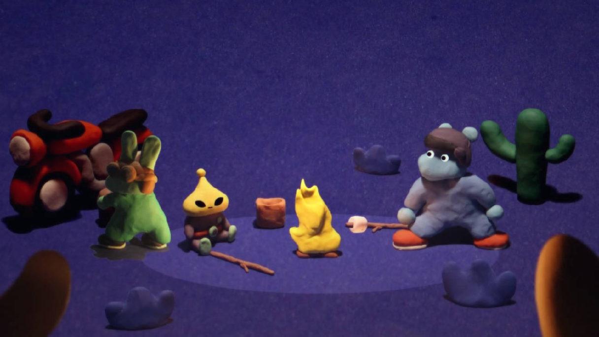The Ballad of Bonky - bohaterowie gry siedzą przy ognisku - PG