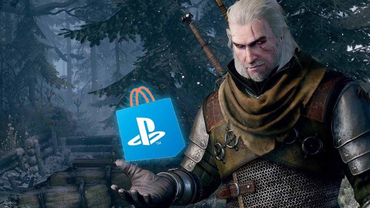Wiedźmin Geralt i logo PS STore